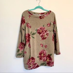 Bellamie Brown Red Floral Sweater Top w Pockets